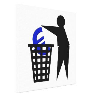 Trash the Euro Stretched Canvas Print