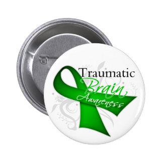 Traumatic Brain Injury Awareness Ribbon 2 Inch Round Button