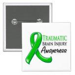 Traumatic Brain Injury Awareness Ribbon Pinback Buttons