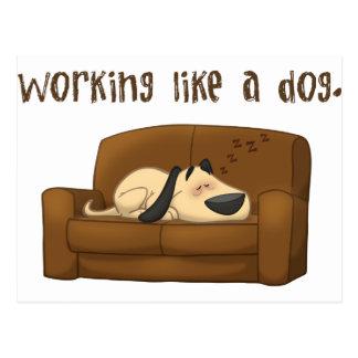 Travail comme un chien carte postale