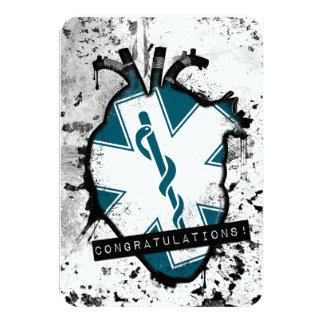 travailleur de services médicaux de secours de carton d'invitation 8,89 cm x 12,70 cm