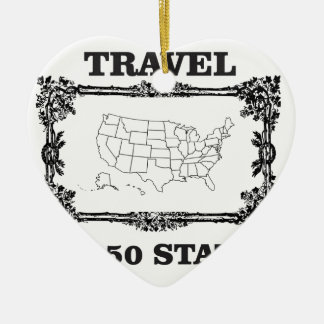 Travei all fifty state marker ceramic heart ornament
