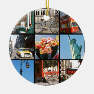 Travel abroad to NewYork Round Ceramic Ornament