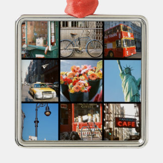 Travel abroad to NewYork Silver-Colored Square Ornament