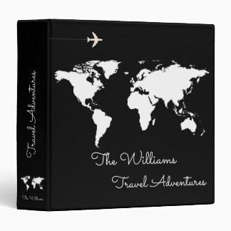 travel adventures / world map black custom vinyl binder