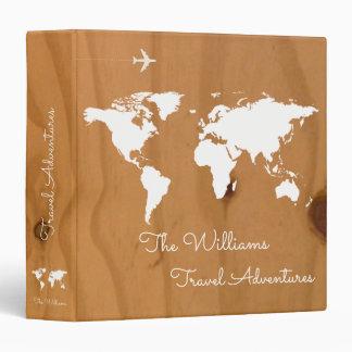 travel adventures / world map on wood, custom binder