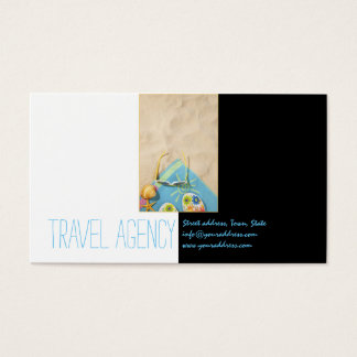 Travel Agency Beach Time Black White Business Card