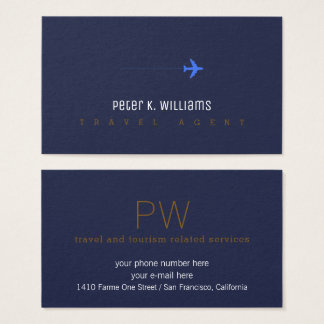 travel agent blue business card with an airplane