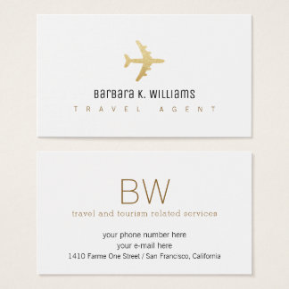 travel agent white business card with an airplane