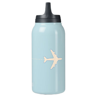 travel airplane with dotted line insulated water bottle