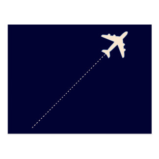 travel airplane with dotted line postcard