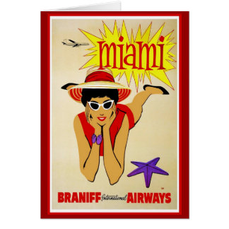 Travel America Print Retro Vintage Travel Card