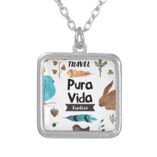 Travel and explore watercolour silver plated necklace