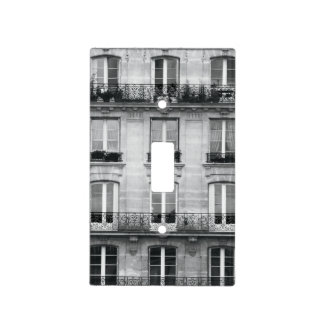Travel | Black and White Vintage Building In Paris Light Switch Cover