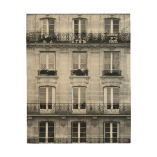 Travel | Black and White Vintage Building In Paris Wood Print