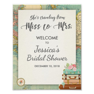 Travel Bridal shower Welcome Sign Miss to Mrs