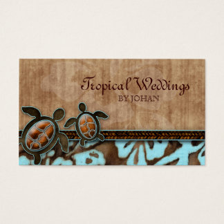 Travel Business Card Turtles Brown Blue