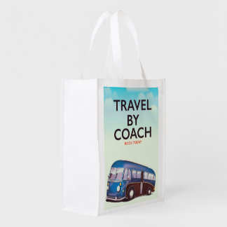 Travel By coach British travel poster Reusable Grocery Bag