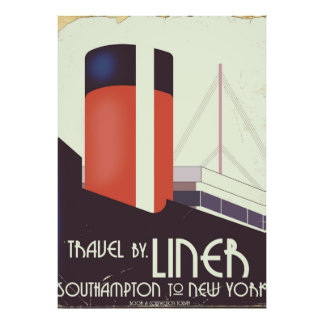Travel by Liner - vintage travel poster