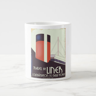 Travel by Liner - vintage travel poster Large Coffee Mug