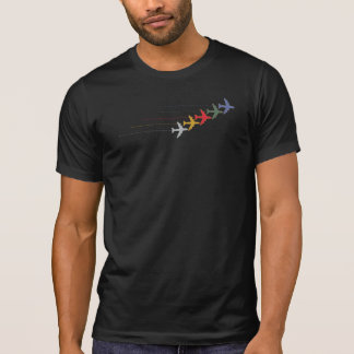 travel color airplanes with dotted line on black T-Shirt