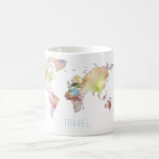 Travel colorful world map mug