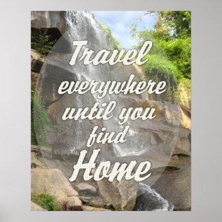 Travel Everywhere - Waterfall Poster