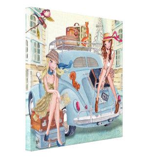 Travel Girls in Paris - Canvas