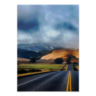 Travel Holiday Road Natural World View Blue Cloud Poster