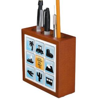 Travel Icons Desk Orgainzier Pencil/Pen Holder