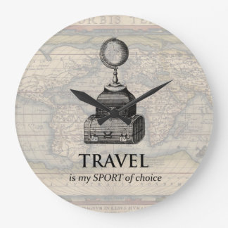 Travel is my Sport Vintage Globe Map Wall Clock