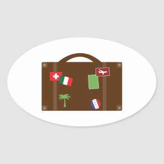 Travel Luggage Oval Stickers