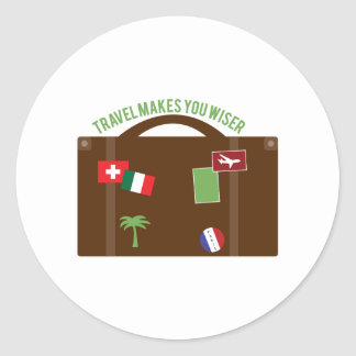 Travel Makes Wiser Classic Round Sticker