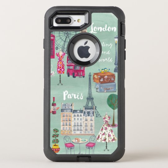 Travel map London Paris | Otterbox | Iphone OtterBox Defender iPhone 7 Plus Case