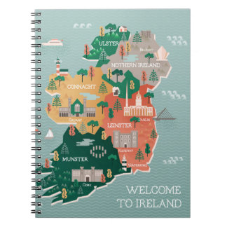 Travel Map of Ireland | Landmarks & Cities Notebook