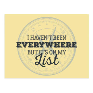 Travel more compass stamp motivational quote postcard