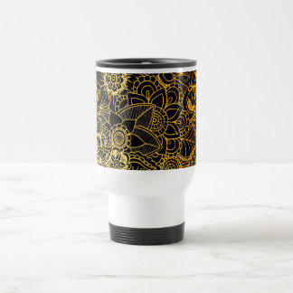 Travel Mug Floral Doodle Gold G523