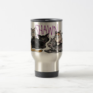 Travel Mug, Happy Alley Cats, Custom Name Travel Mug