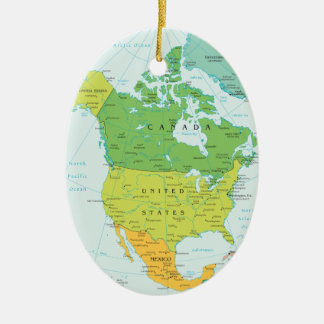 Travel North-Amerca: Canada, USA and Mexico Ceramic Ornament