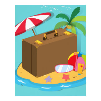 Travel objects on the island letterhead template