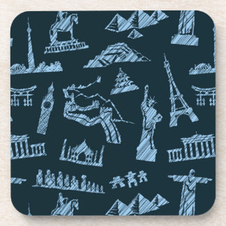 Travel Pattern In Blues Pattern Beverage Coasters