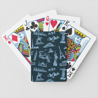 Travel Pattern In Blues Pattern Bicycle Playing Cards