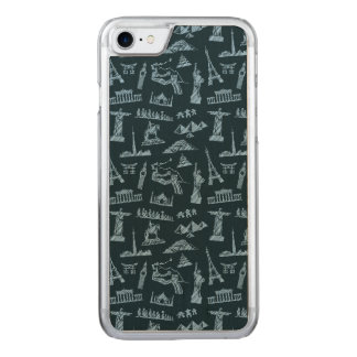 Travel Pattern In Blues Pattern Carved iPhone 8/7 Case