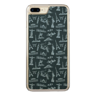 Travel Pattern In Blues Pattern Carved iPhone 8 Plus/7 Plus Case