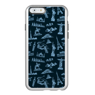 Travel Pattern In Blues Pattern Incipio Feather® Shine iPhone 6 Case