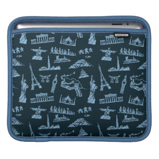 Travel Pattern In Blues Pattern iPad Sleeve