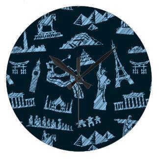Travel Pattern In Blues Pattern Large Clock