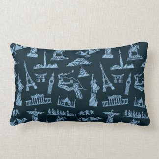 Travel Pattern In Blues Pattern Lumbar Pillow