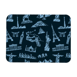 Travel Pattern In Blues Pattern Magnet