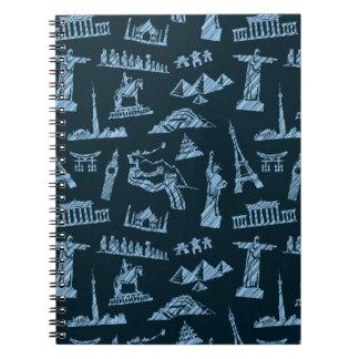Travel Pattern In Blues Pattern Notebook
